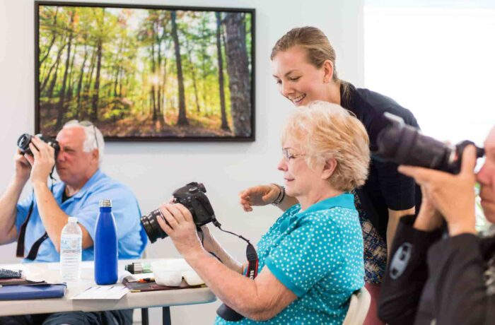 Old age people learning photography